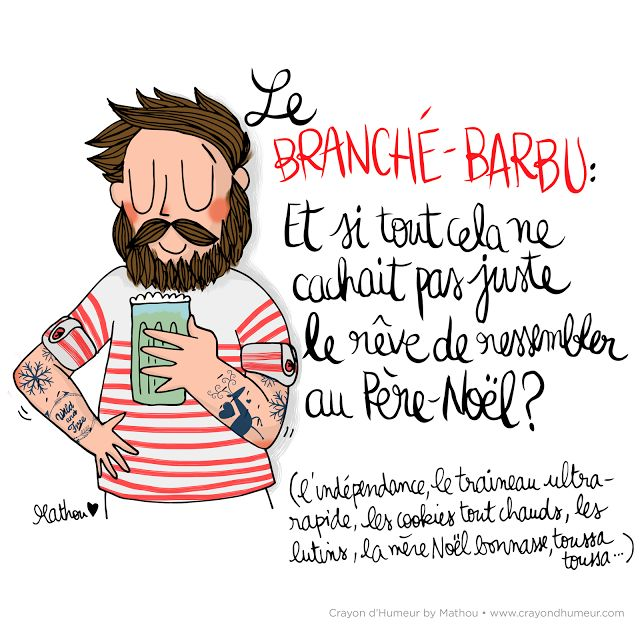 Illustration Crayon d'Humeur by Mathou www.crayondhumeur.com Branché barbu