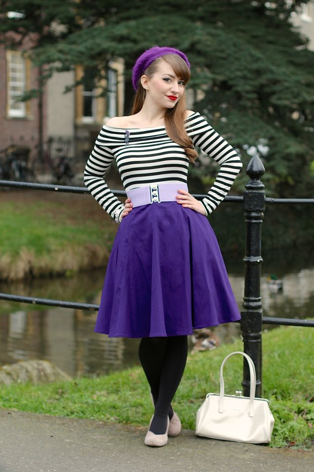 A black and white stripe bardot top and a whole lot of purple