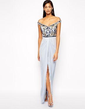 Virgos Lounge Greta Off Shoulder Maxi Dress With Embellished Bodice