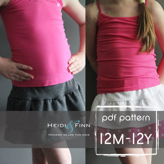 Tennis skort pattern and tutorial PDF 12m-12y easy sew skirt shorts uniform