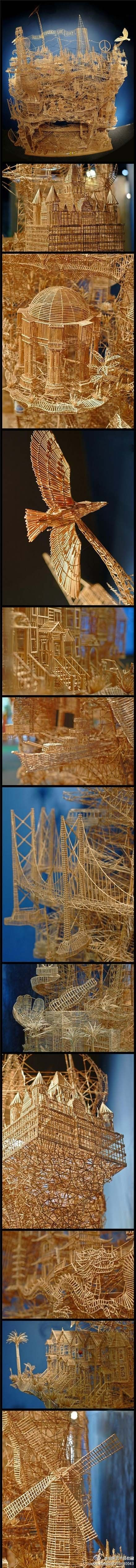 sculpture made out of toothpick - unbelievable + mind blowing!