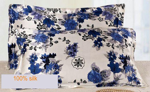 1140730014 funda de Almohada de Seda de seda de doble cara impresa tamaño 74 cm * 48 cm + 3 cm de buena calidad funda de almohada