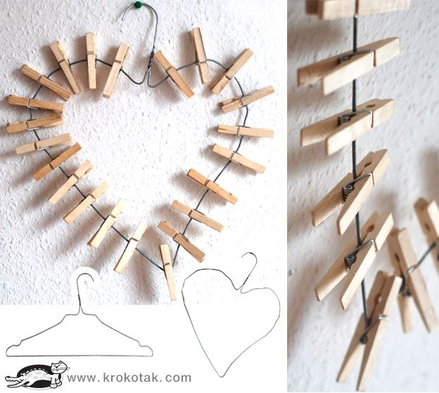 folksy clothespin art... the kids could paint the clothespins, or old vintage clothespins would look cool- we'd just have to glue them into place.