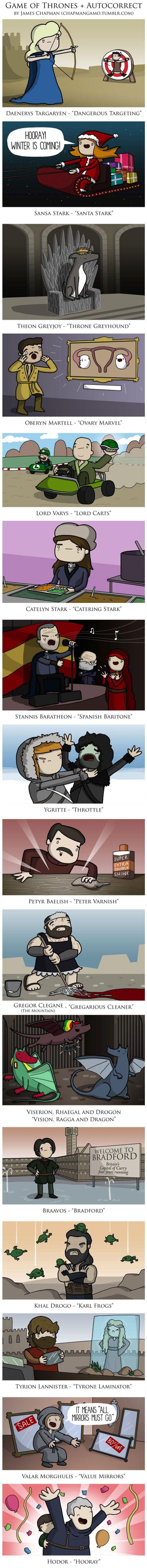 Game of Thrones autocorrect.