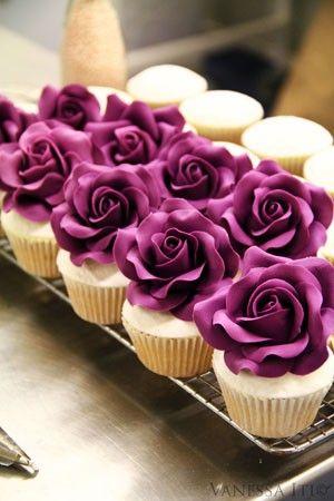 decadence: Cup Cakes, Sweet, Food, Wedding, Rose Cupcakes, Fondant Rose, Purple Roses, Purple Flower, Dessert