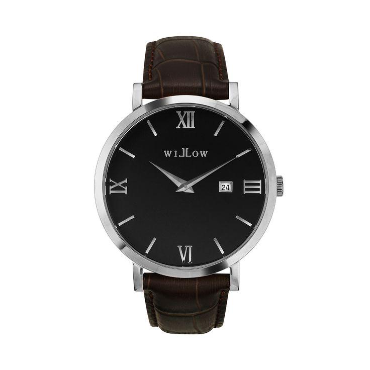 Treviso Silver Watch & Interchangeable Dark Brown Croco Leather Strap.