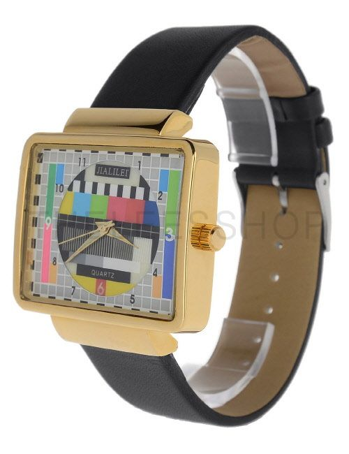 (MISW49-BLACK) Unisex Square Stainless Steel Leather Strap Square Buckle Fashion Watch