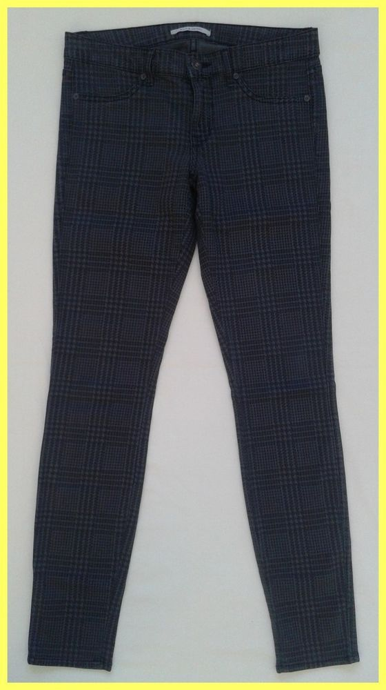 EUC $175 RICH & SKINNY GRAY PLAID PRINT STRETCH SKINNY SLIM JEANS LEGGINGS 27 #RichSkinny #LeggingsSlimSkinny