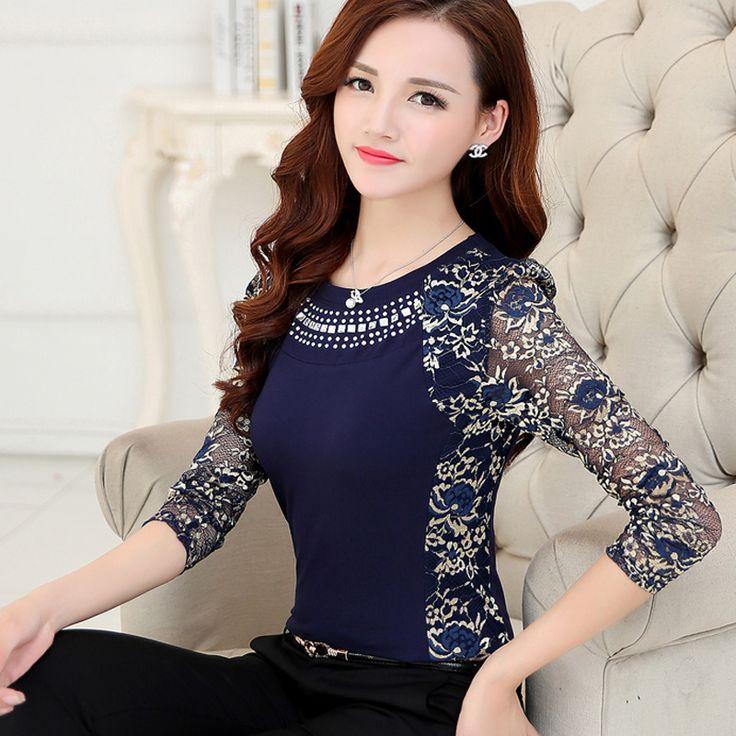 Novo 2016 Alta Qualidade Mulheres plus size lace blusa camisas das senhoras manga longa fino patchwork Rendas de Algodão Tops para as mulheres 160F 20 em Blusas de Moda e Acessórios no AliExpress.com | Alibaba Group
