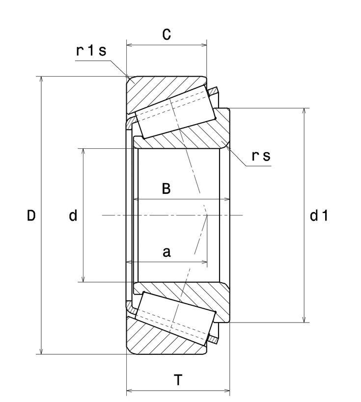 NTN 4T-32208 Rulment cu un singur rand de role conice - schita