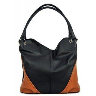 Demetra - geanta din piele naturala - negru/maro