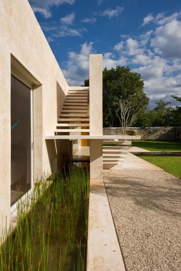 moderne hazienda yucatan mexico teich rechteckig