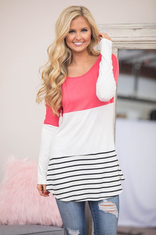 We've brought one of our favorite styles back for spring - grab this one quickly, because it's always a sellout! Bring back effortlessly chic style with this gorgeous blouse! Featuring a colorblock st