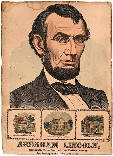Abraham Lincoln memorial lithograph featuring three of his homes
