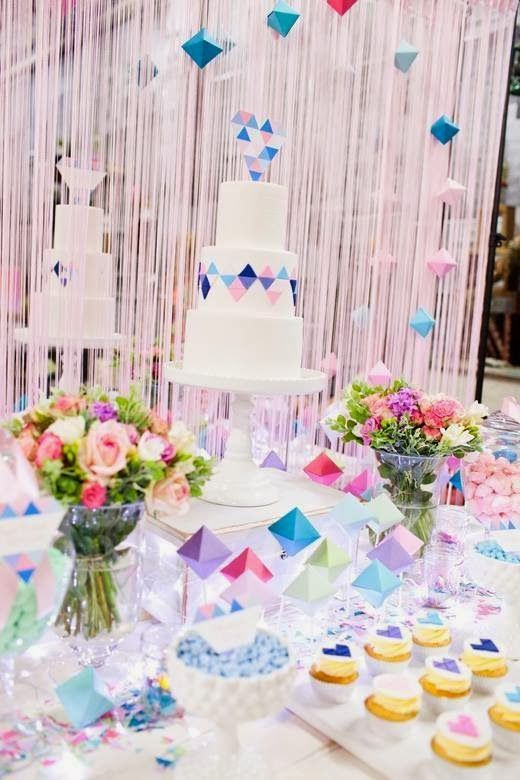 Perfectly Sweet's Pastel Geometric Wedding Table At A Darling Affair   Little Big Company