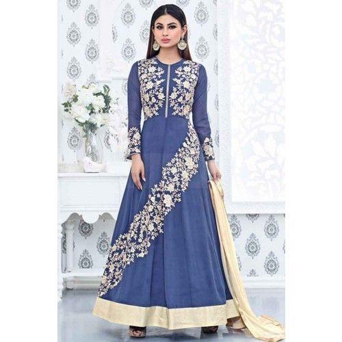 CORNFLOWER BLUE GEORGETTE ANARKALI SUIT Price - £71.00 #AnarkaliSuit  #FashionUK  #DesignerSuit  #IndianSuitOnline  #ShopkundUK