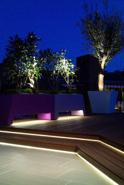 LED lighting hardwood deck tiles and powder coated