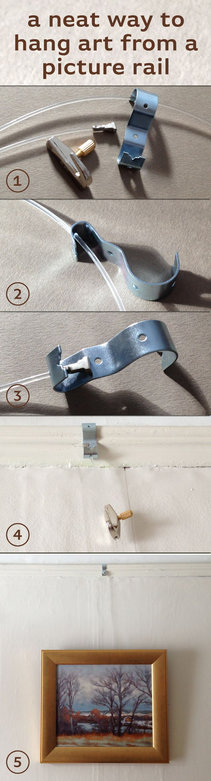 Here's a tidy and easy way to hang art from picture rail. 1. What you'll need: perforated picture rail hook (http://govart.com/hardware_rail_hooks_A.html); cable and art hook: I used the twist-end transparent cord and utility hook from http://www.ashanging.com/en/click-rail-system/ 2. Thread end of nylon cord through hole at bottom of picture rail hook. 3. Twist end at top anchors cord. 4. Place hook over picture rail, add utility hook to cable and adjust height. 5. Hang artwork. Easy!