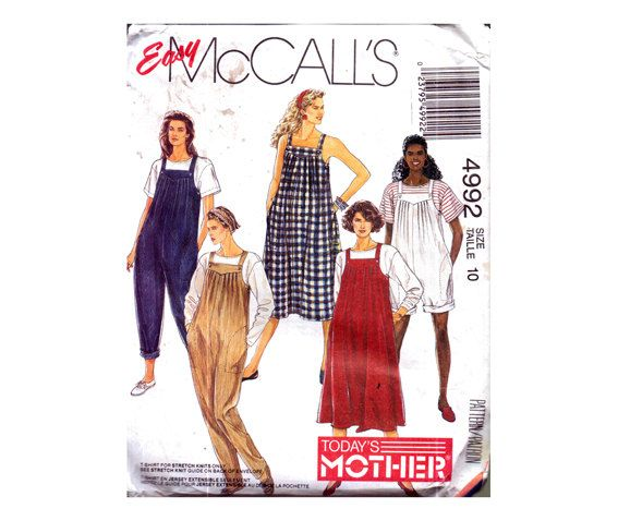 Genuine Vintage McCall's 4992 Ladies Full MATERNITY Wardrobe Stylish 5 Set Dungarees and Dresses Sewing Pattern