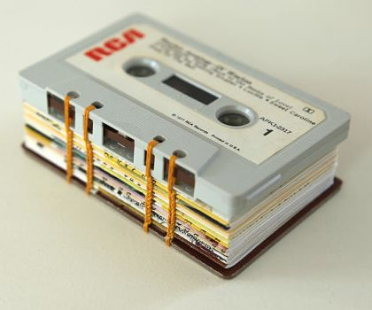 coptic stitch mini journal sewn using cassette tapes - #Bookbinding