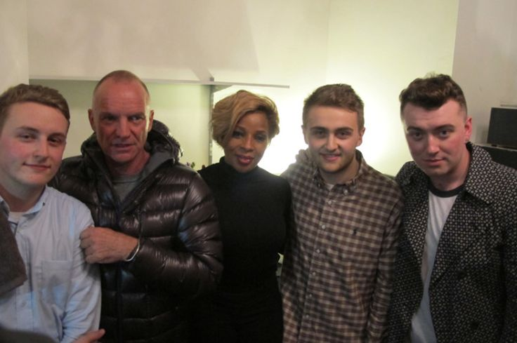 8.Jan. 19, NYC: Musical royalty back stage at Terminal 5, from L to R: Guy Lawrence of Disclosure, Sting, Mary J. Blige, Howard Lawrence of Disclosure & Sam Smith