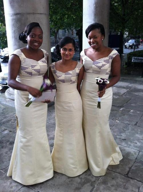 Bridesmaids - lovely combination of kente cloth (top) and plain-color cloth!