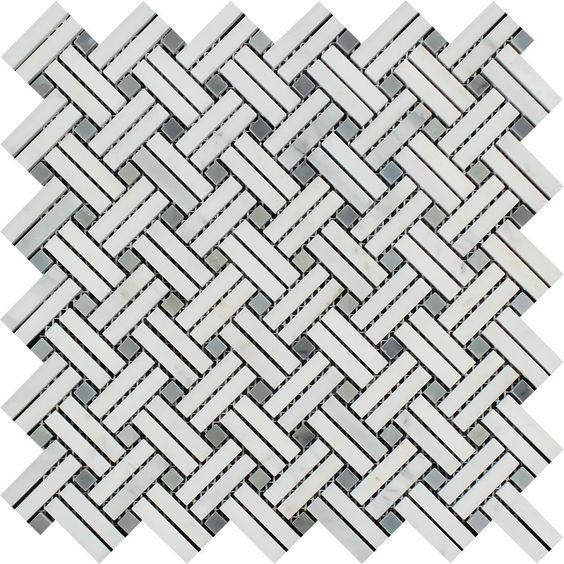 Oriental White / Asian Statuary Marble Polished Stanza Basketweave Mosaic Tile w / Blue-Gray Dots