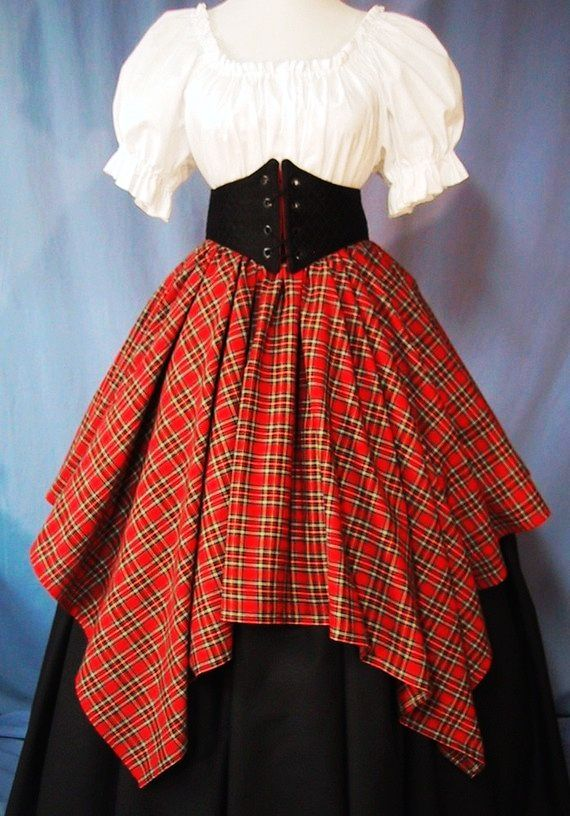 Overlay Skirt for Costume - Red Tartan Plaid - Renaissance Faire - Scottish Festival - Handmade