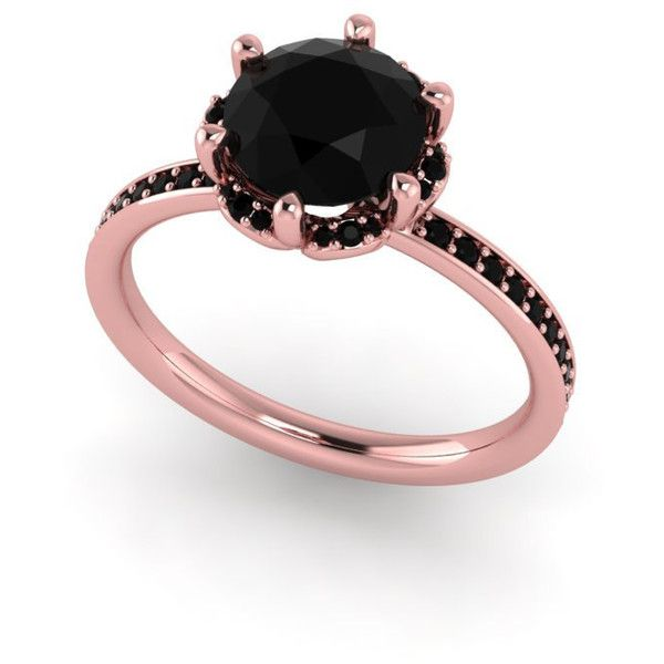 Black diamond engagement ring,custom rings ,black diamond rose gold... ($1,325) ❤ liked on Polyvore featuring jewelry, rings, red gold jewelry, black diamond engagement rings, rose gold jewelry, rose gold jewellery and pink gold jewelry