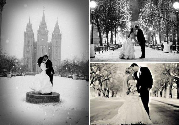 Varázslatos téli mesevilág köszönhet vissza az esküvői fotókról, ha a hóban készült képeket fekete-fehérben kéred.