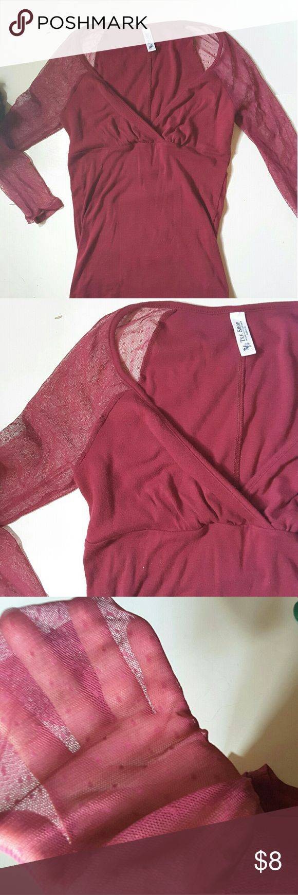 Vs tee shop V neck shirt mesh with pockadots design 3/4 sleeve arms some wear from wash but other than that good condition  14 inches from armpit to armpit 23 inches from shoulder to bottom of shirt Victoria's Secret Tops