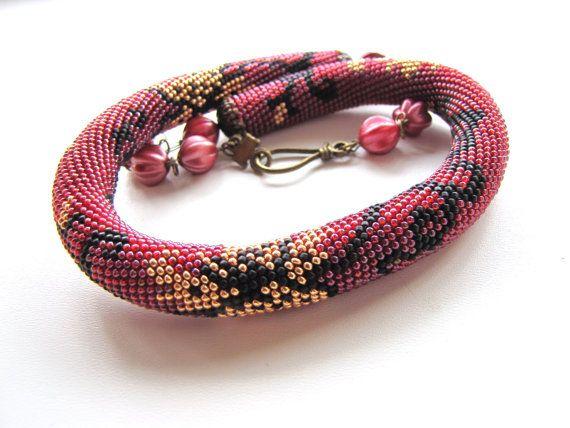Burgundy bead crocheted necklace maroon by DolgovaSvetlana on Etsy