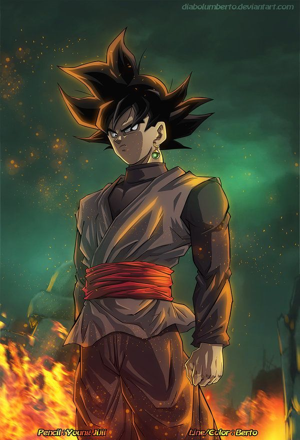 Black Goku by diabolumberto on DeviantArt, a full-color rendition of one of a Young Jijii sketch. #DBZ #DBS
