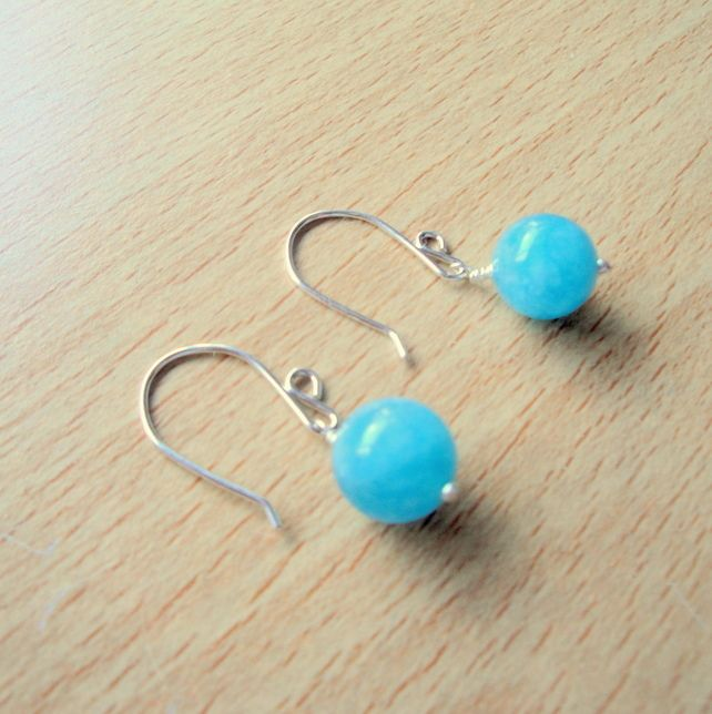 Aquamarine Quartz and Sterling Silver Earrings