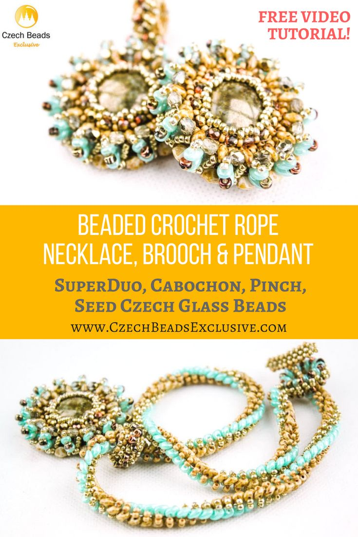 SuperDuo, Cabochon, Pinch, Seed Czech Glass Beads - Beaded Crochet Rope Necklace, Brooch And Pendant Free Video Pattern Tutorial -> SAVE it!  Have you missed our Christmas ornament bead pattern s? Don�t worry, we have prepared for you a unique and stylish bead crochet jewelry pattern, more precisely it�s a bead crochet necklace, brooch and pendant pattern! Can you imagine? Follow step-by-step this free beaded crochet rope instructions! - all is good and possible with…
