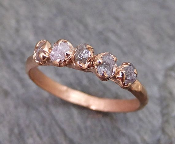 Custom Made Raw Pink Diamonds Rose Gold Ring Wedding Band Custom One Of a Kind Gemstone Ring Rough Diamond Ring byAngeline