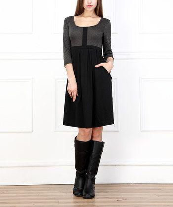 Charcoal & Black Scoop Neck Fit & Flare Dress