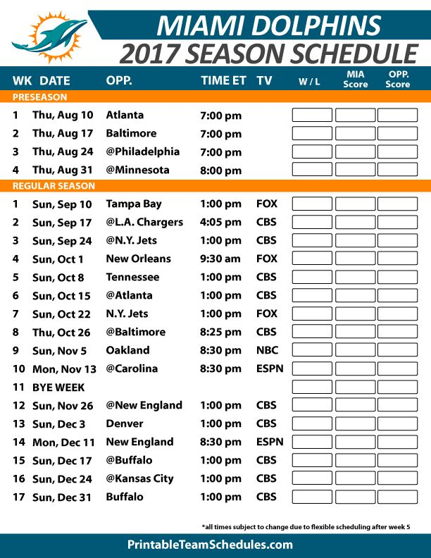 Miami Dolphins Football Schedule 2017