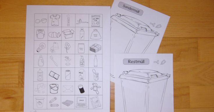 """Ausschneidebogen """"Müll sortieren""""    Zum Thema """"Müll und Recycling"""" habe ich vor den Pfingstferien noch diesen Ausschneidebogen  erstellt. ..."""