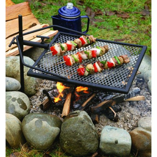 Adjustable Campfire Iron Grill Grate Portable Camping