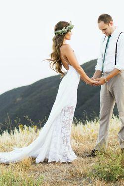 Wedding Dresses on Line,Cheap Wedding Dresses,Wedding Gowns for Cheap,Bridal Dresses,White Lace Side Slit Simple Spaghetti Wedding Dresses For Beach Wedding,M32