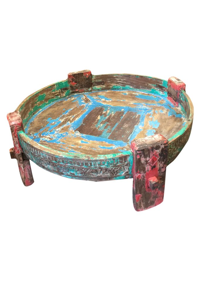 #chakkitable #coffeetable #antique #solidwood http://www.houzz.com/photos/54357807/lid=39469045/Consigned-Antique-Distressed-Hand-Carved-Wood-Chakki-Table-traditional-console-tables