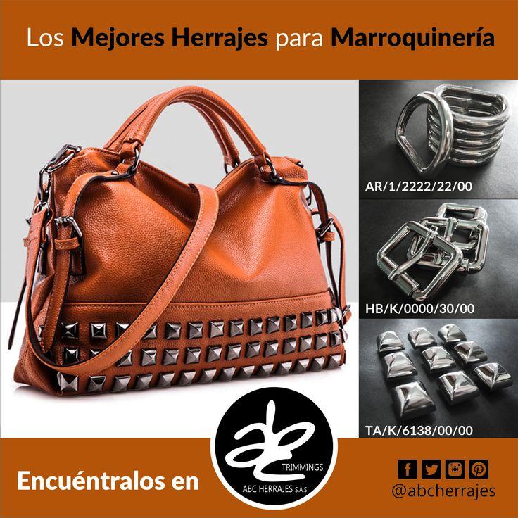Los Mejores #Herrajes para #Marroquineria están en #ABCHerrajes. #Bolsos #Carteras #Taches #Hebillas #Argollas Nos puedes encontrar en:  #Bogota: Calle 74A # 23-25 / Tel: 2115117  #Medellin: Diagonal 74B # 32-133 / Tel: 3412383  #Barranquilla: Cra. 52 # 72-114 C.C. Plaza 52 / Tel: 3690687 Visítanos en: www.abcherrajes.com