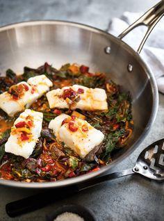 Recette de Ricardo de poisson blanc, bouillon au gingembre  et bettes à carde