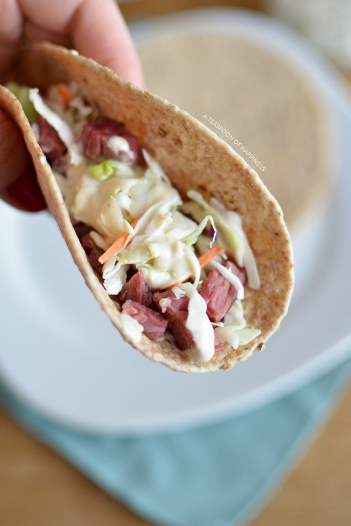 Corned Beef and Cabbage Tacos with Guinness Horseradish Cream Sauce | A Teaspoon of Happiness
