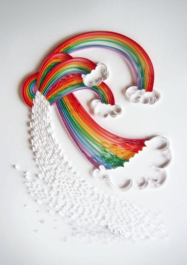 Quilled Rainbows by Lavanya Naidoo - paper craft - this is pretty dang cool #cuadrosmodernos #buyart