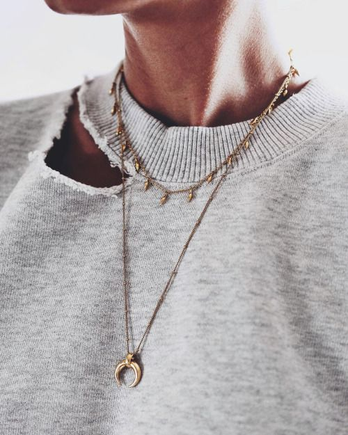 gold horn layered necklace