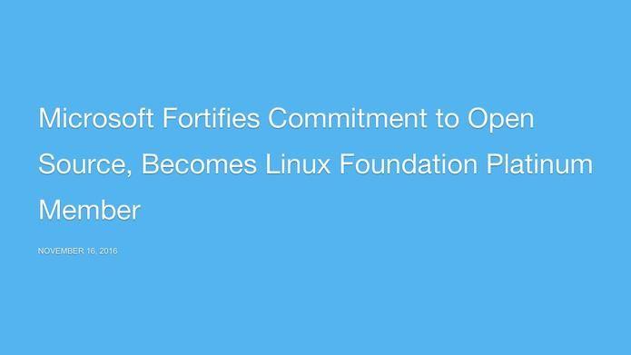 """""""Platinum Member""""so darf sich Microsoft nun nennen, nachdem das Unternehmen der Linux Foundation beigetreten ist.Update 16.11.,17.17 Uhr: John Gossman aus Microsofts Azure-Team wird Vorstandsmitglied der Linux Foundation, heißt es dort weiter. Microsoft habe im Cloud Computing, in der Netzwerktechnik und bei Spielen sein Engagement in Open-Source-Projekten stetig gesteigert. Derzeit sei Microsoft der wichtigste GitHub-Zuträger. ... wichtige Meilensteine in Sachen Open Source angekündigt."""