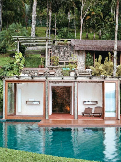Home spa opens to the pool but I would prefer this more to an indoor design.