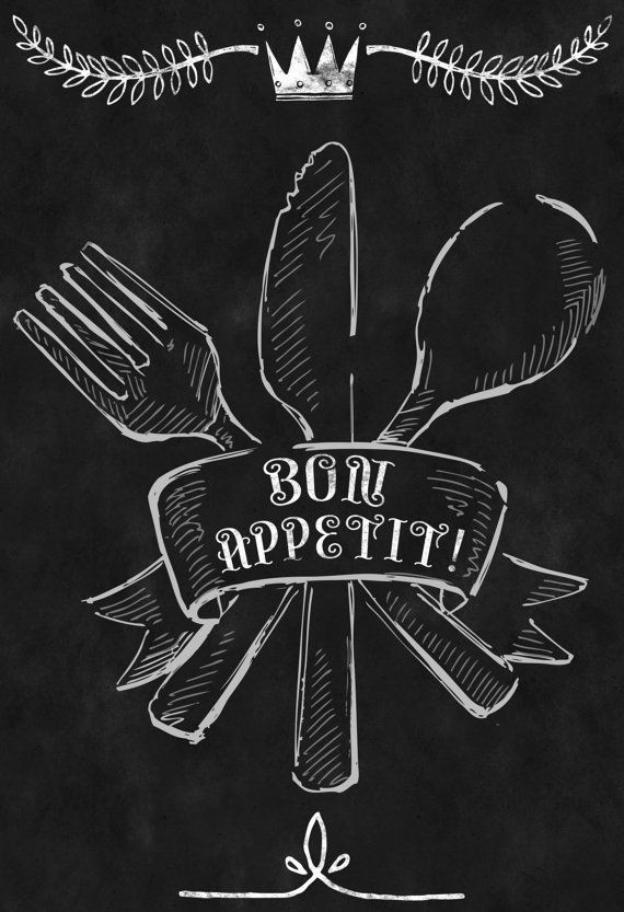 "Chalkboard Kitchen-Menu-Food-Meal-Dish-Cook-Knife-Fork-Spoon-Chef-Silverware-Cutlery-Cooking Utensils-Bon Appetit! -Print 8 x 10"" No.376"